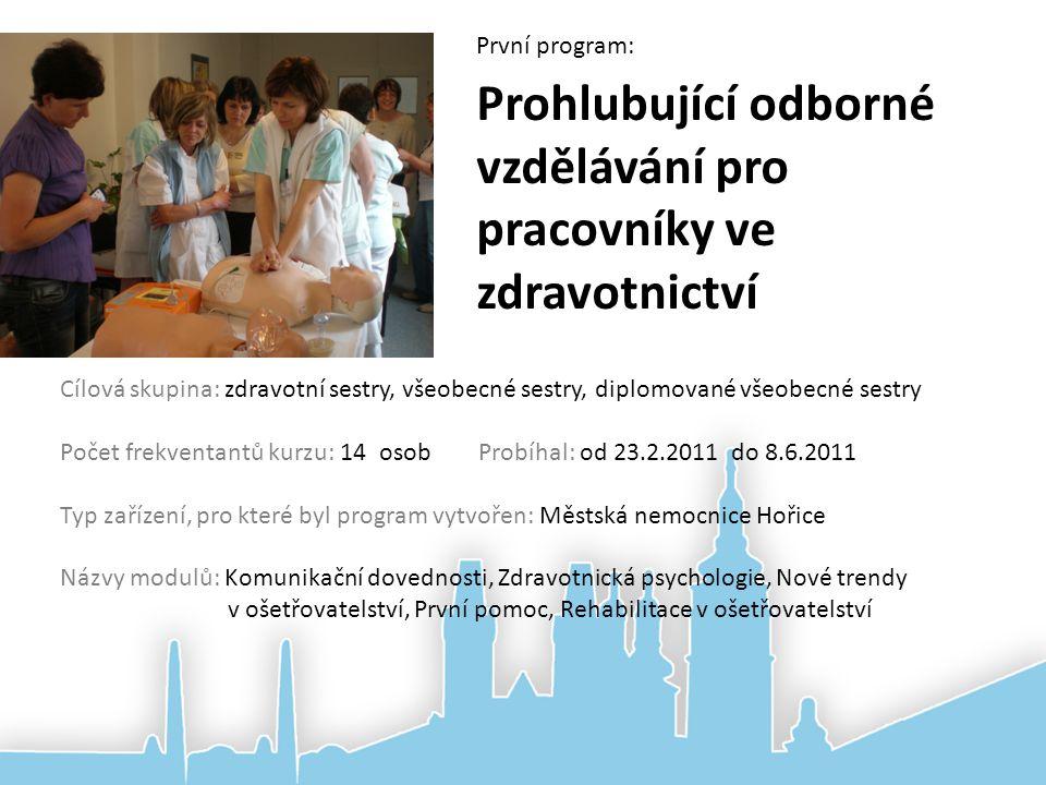 Prohlubující odborné vzdělávání pro pracovníky ve zdravotnictví Cílová skupina: zdravotní sestry, všeobecné sestry, diplomované všeobecné sestry Počet