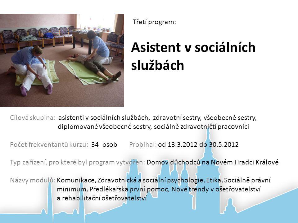 Asistent v sociálních službách Třetí program: Cílová skupina: asistenti v sociálních službách, zdravotní sestry, všeobecné sestry, diplomované všeobec