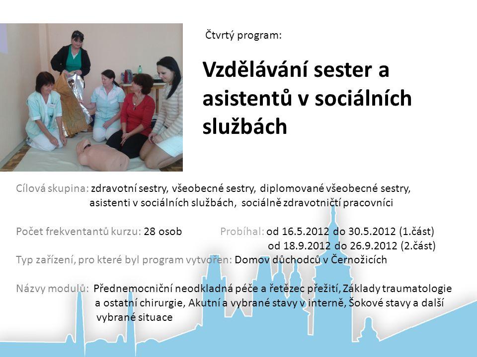 Vzdělávání sester a asistentů v sociálních službách Čtvrtý program: Cílová skupina: zdravotní sestry, všeobecné sestry, diplomované všeobecné sestry,