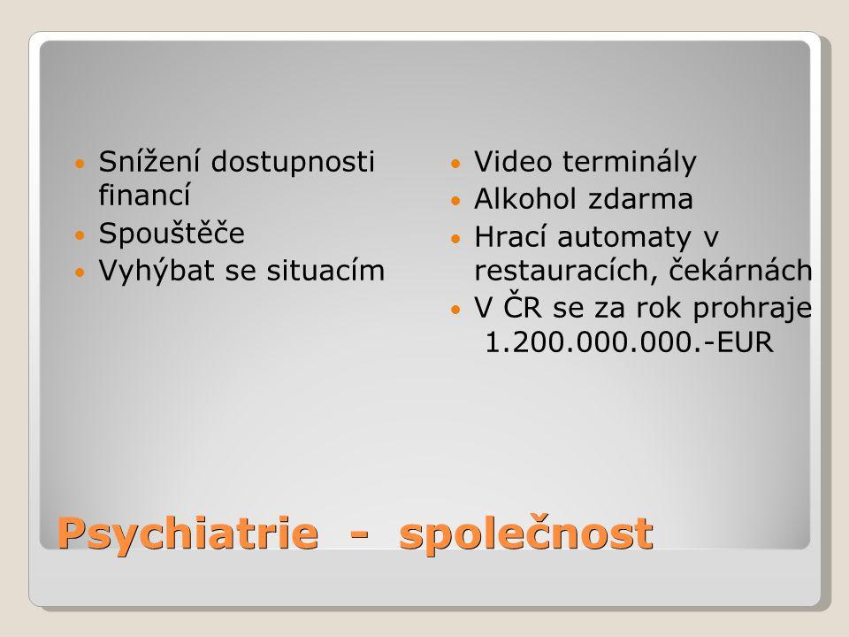 Psychiatrie - společnost Snížení dostupnosti financí Spouštěče Vyhýbat se situacím Video terminály Alkohol zdarma Hrací automaty v restauracích, čekár