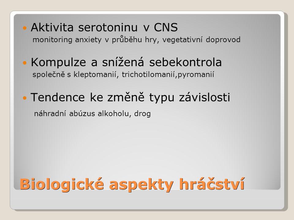 Biologické aspekty hráčství Aktivita serotoninu v CNS monitoring anxiety v průběhu hry, vegetativní doprovod Kompulze a snížená sebekontrola společně