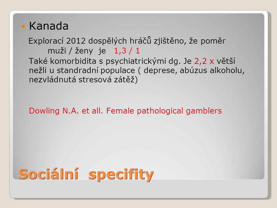 Sociální specifity Kanada Explorací 2012 dospělých hráčů zjištěno, že poměr muži / ženy je 1,3 / 1 Také komorbidita s psychiatrickými dg. Je 2,2 x vět