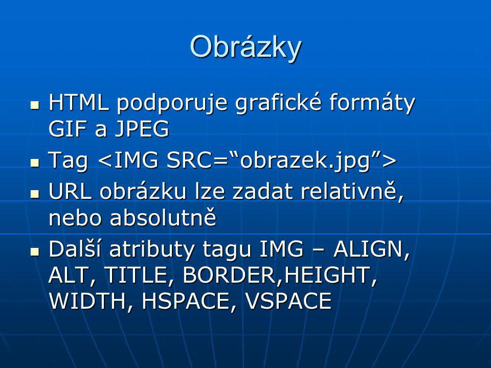 Obrázky HTML podporuje grafické formáty GIF a JPEG HTML podporuje grafické formáty GIF a JPEG Tag Tag URL obrázku lze zadat relativně, nebo absolutně