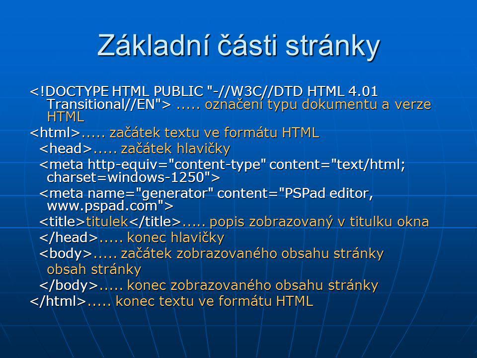 Základní části stránky..... označení typu dokumentu a verze HTML..... označení typu dokumentu a verze HTML..... začátek textu ve formátu HTML..... zač