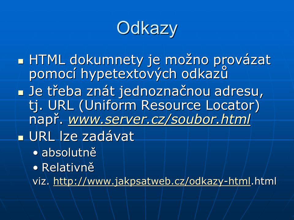 Odkazy HTML dokumnety je možno provázat pomocí hypetextových odkazů HTML dokumnety je možno provázat pomocí hypetextových odkazů Je třeba znát jednozn