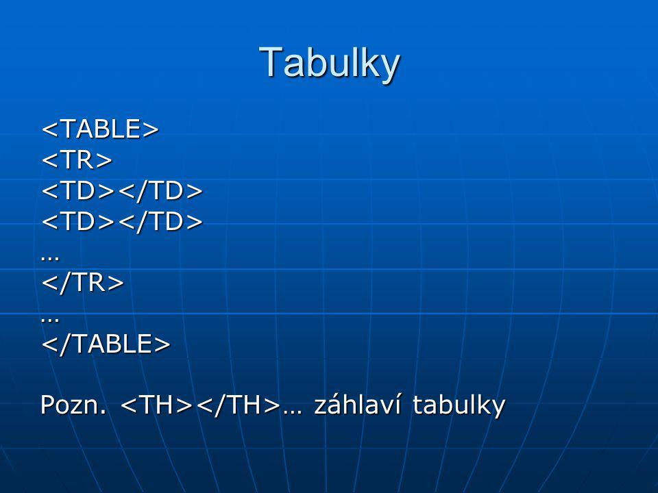 Tabulky <TABLE><TR><TD></TD><TD></TD>…</TR>…</TABLE> Pozn. … záhlaví tabulky