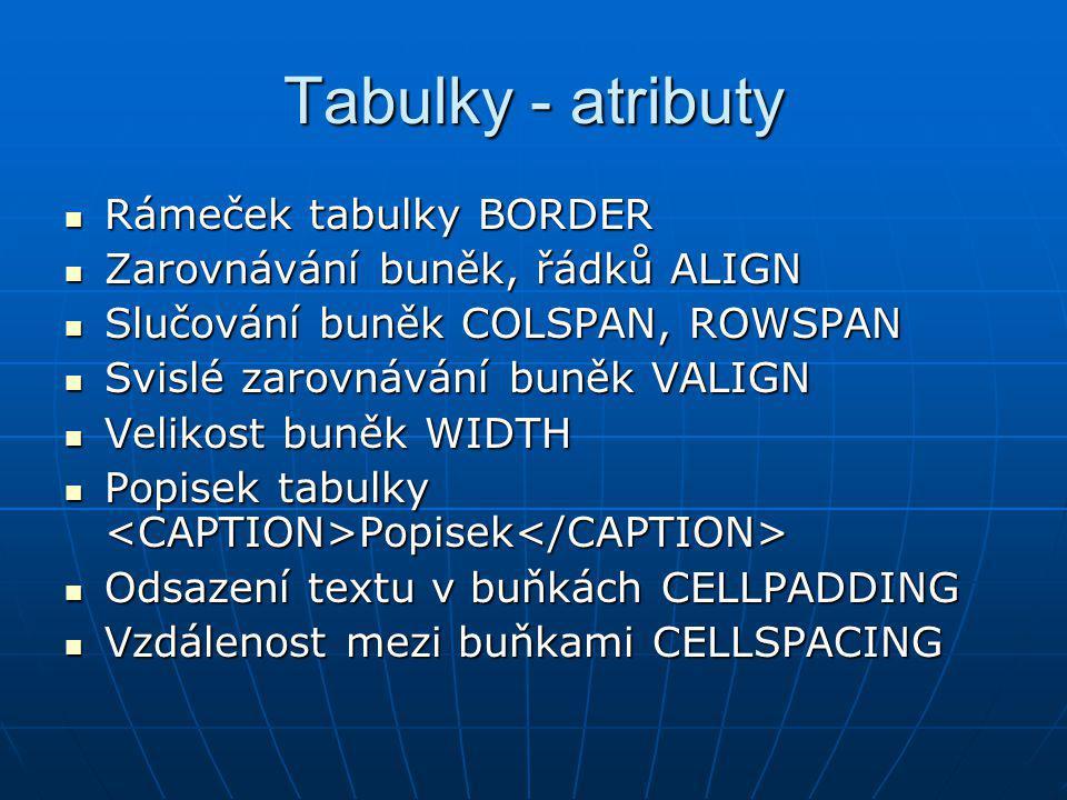 Tabulky - atributy Rámeček tabulky BORDER Rámeček tabulky BORDER Zarovnávání buněk, řádků ALIGN Zarovnávání buněk, řádků ALIGN Slučování buněk COLSPAN