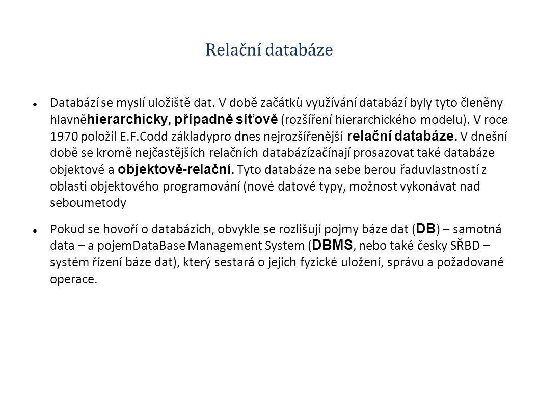 Relační databáze Databází se myslí uložiště dat. V době začátků využívání databází byly tyto členěny hlavně hierarchicky, případně síťově (rozšíření h