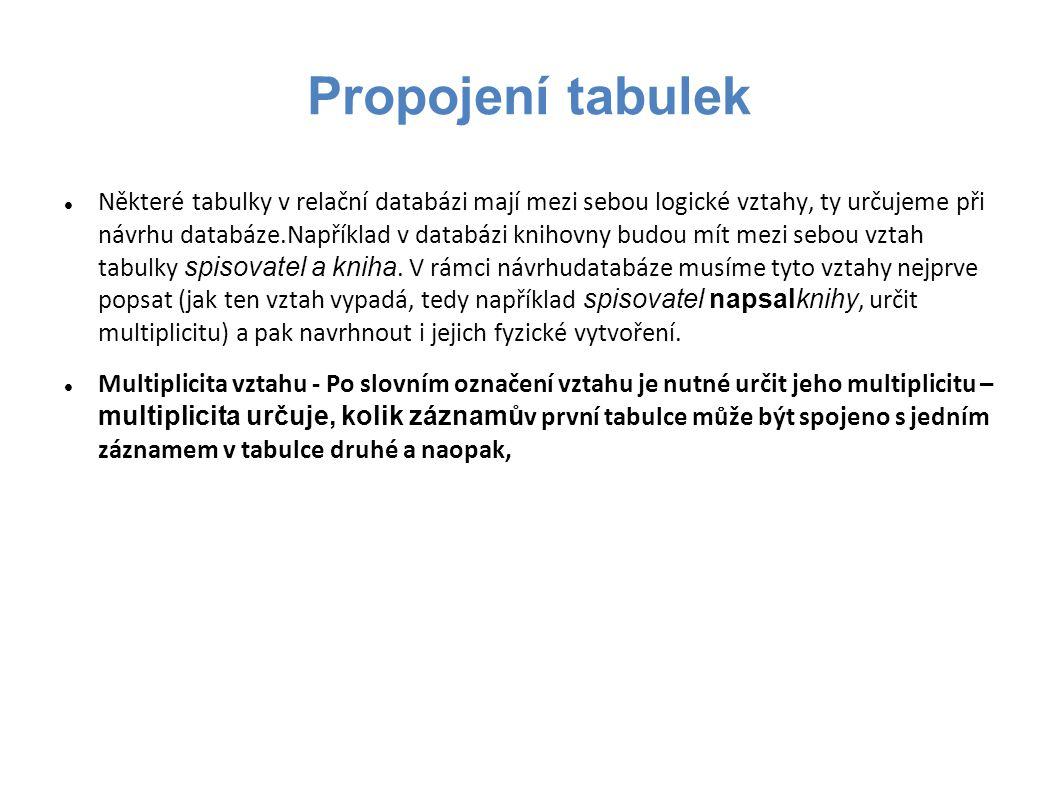 Propojení tabulek Některé tabulky v relační databázi mají mezi sebou logické vztahy, ty určujeme při návrhu databáze.Například v databázi knihovny budou mít mezi sebou vztah tabulky spisovatel a kniha.