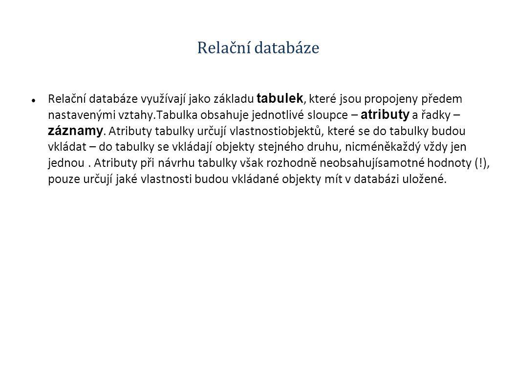 Relační databáze Relační databáze využívají jako základu tabulek, které jsou propojeny předem nastavenými vztahy.Tabulka obsahuje jednotlivé sloupce – atributy a řadky – záznamy.