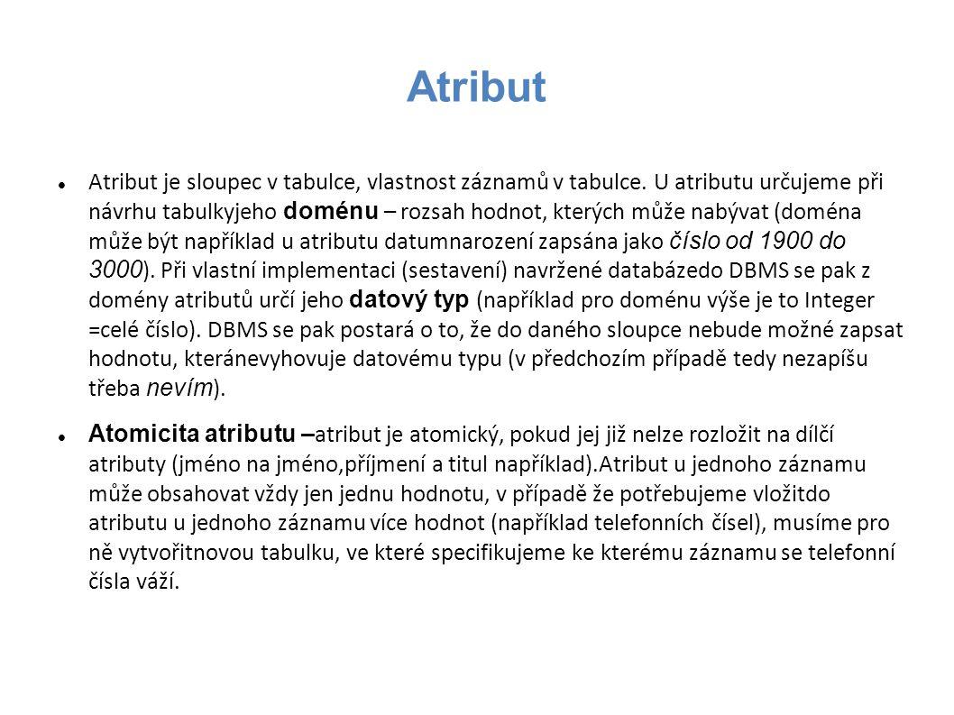 Atribut Atribut je sloupec v tabulce, vlastnost záznamů v tabulce. U atributu určujeme při návrhu tabulkyjeho doménu – rozsah hodnot, kterých může nab
