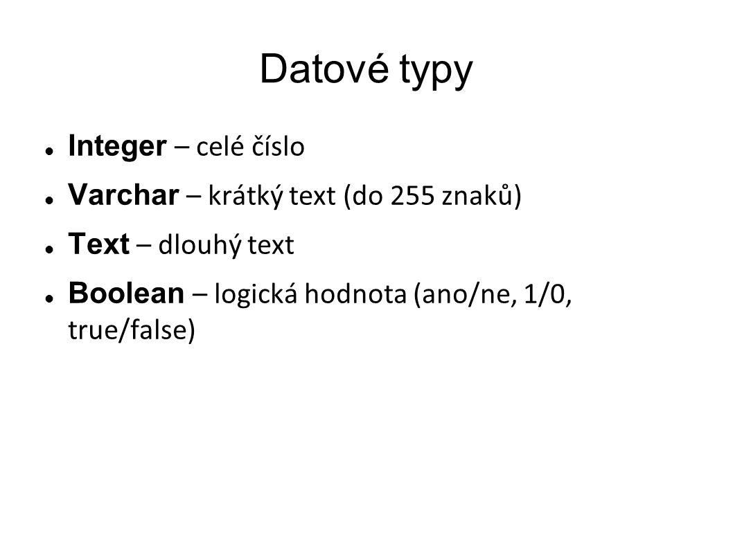 Datové typy Integer – celé číslo Varchar – krátký text (do 255 znaků) Text – dlouhý text Boolean – logická hodnota (ano/ne, 1/0, true/false)