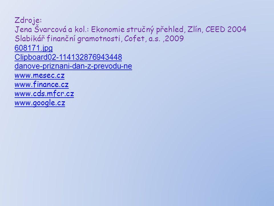 Zdroje: Jena Švarcová a kol.: Ekonomie stručný přehled, Zlín, CEED 2004 Slabikář finanční gramotnosti, Cofet, a.s.,2009 608171.jpg Clipboard02 ‑ 11413