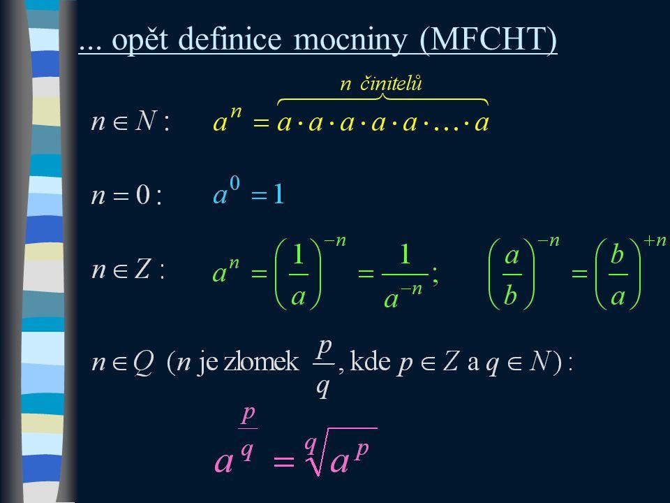 Řešené příklady můžeme rozdělit na 3 typy 1.levou i pravou stranu rovnice tvoří pouze jednočleny (mezi mocninami je jen násobení, dělení)  upravujeme tak, abychom je mohli rovnou porovnat 2.strany rovnice netvoří pouze jednočleny (mezi mocninami je kromě násobení také sčítání, odečítání) a a)členy obsahují stejné mocniny  vytýkáme, následně porovnáváme b)členy neobsahují stejné mocniny (liší se buď základem či rovnou exponentem)  substituce, následně porovnáváme