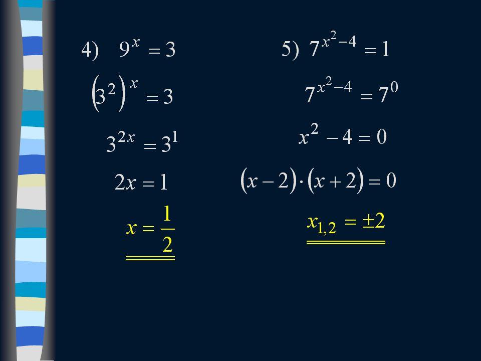 Příklady na procvičení  Exponenciální rovnice, které lze řešit převodem mocnin na společný základ