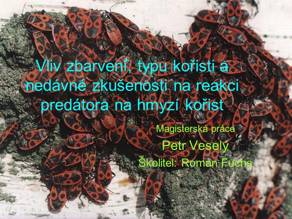 cíle Odklon od původních cílů Objasnit parametry ovlivňující reakci ptačích predátorů na hmyzí kořist –Nedávná potravní zkušenost –Nepoživatelnost kořisti –Zbarvení (modifikace) kořisti