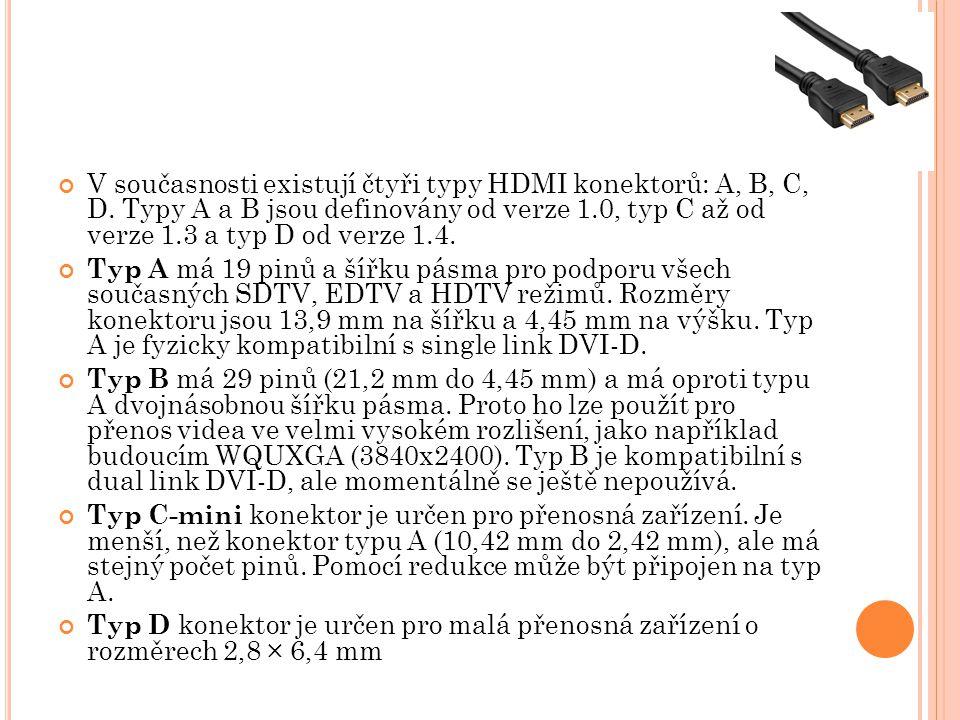 V současnosti existují čtyři typy HDMI konektorů: A, B, C, D. Typy A a B jsou definovány od verze 1.0, typ C až od verze 1.3 a typ D od verze 1.4. Typ
