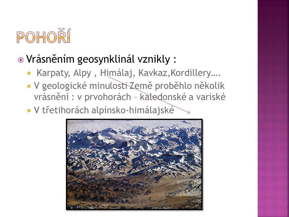  Vrásněním geosynklinál vznikly :  Karpaty, Alpy, Himálaj, Kavkaz,Kordillery….