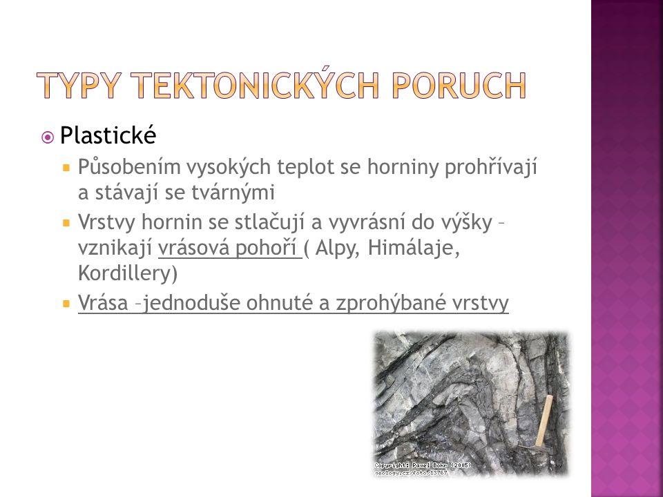  Plastické  Působením vysokých teplot se horniny prohřívají a stávají se tvárnými  Vrstvy hornin se stlačují a vyvrásní do výšky – vznikají vrásová