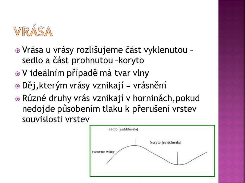 Podle vzájemné polohy antiklinály a  synklinály rozlišujeme různé typy vrás  Vrásy mají různé rozměry ( cm až km)  Vrása: přímá  šikmá  překocená  ležatá, …  Vrásový přesmyk – stlačováním překocené vrstvy může dojít k přetržení a posouvání vrstev  Příkrov – složitější typ přesmyku, více vrás