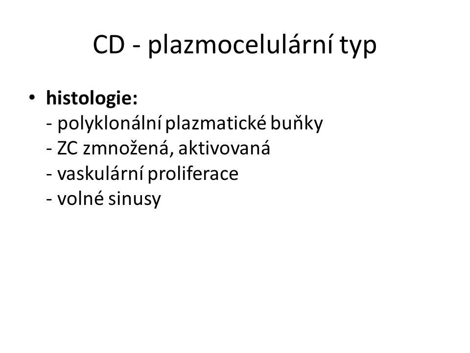 CD - plazmocelulární typ histologie: - polyklonální plazmatické buňky - ZC zmnožená, aktivovaná - vaskulární proliferace - volné sinusy
