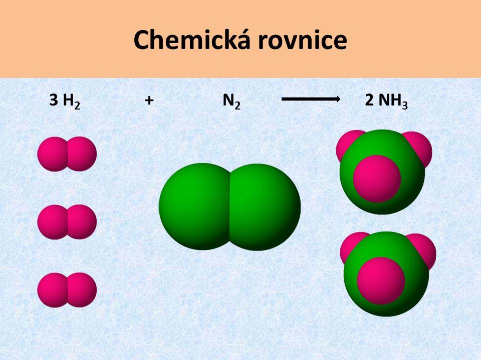 3 H 2 + N 2 2 NH 3 Chemická rovnice