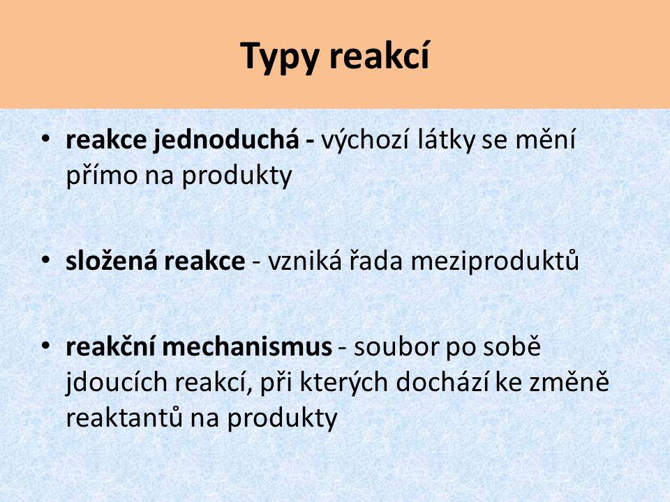 Typy reakcí reakce jednoduchá - výchozí látky se mění přímo na produkty složená reakce - vzniká řada meziproduktů reakční mechanismus - soubor po sobě jdoucích reakcí, při kterých dochází ke změně reaktantů na produkty
