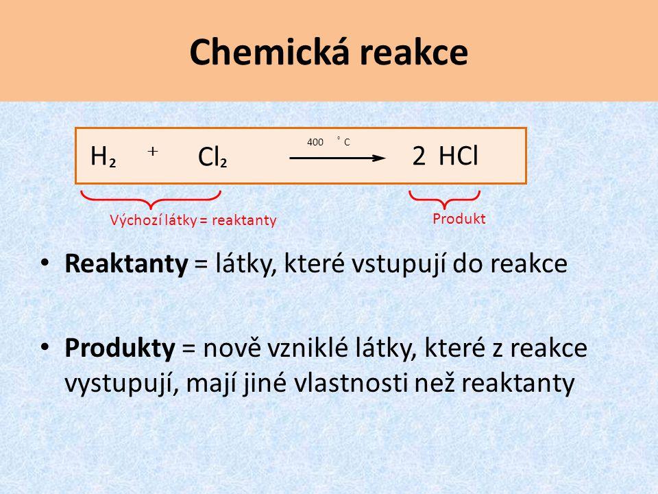 Chemická reakce Reaktanty = látky, které vstupují do reakce Produkty = nově vzniklé látky, které z reakce vystupují, mají jiné vlastnosti než reaktanty Výchozí látky = reaktanty Produkt HCl2 Cl H C400 2   2