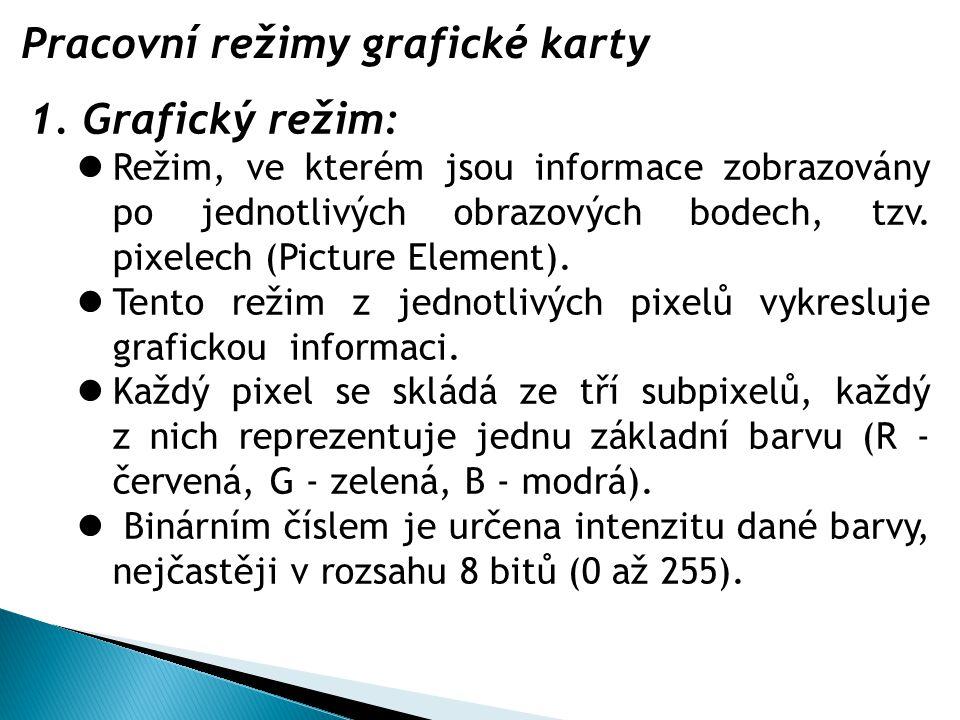 Pracovní režimy grafické karty 1.Grafický režim: Režim, ve kterém jsou informace zobrazovány po jednotlivých obrazových bodech, tzv.