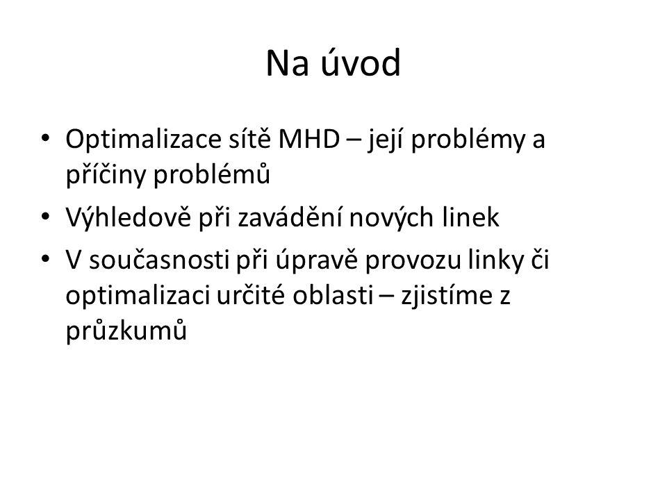 Na úvod Optimalizace sítě MHD – její problémy a příčiny problémů Výhledově při zavádění nových linek V současnosti při úpravě provozu linky či optimal