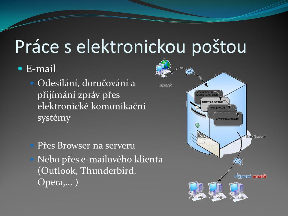 Práce s elektronickou poštou E-mail Odesílání, doručování a přijímání zpráv přes elektronické komunikační systémy Přes Browser na serveru Nebo přes e-mailového klienta (Outlook, Thunderbird, Opera,… )