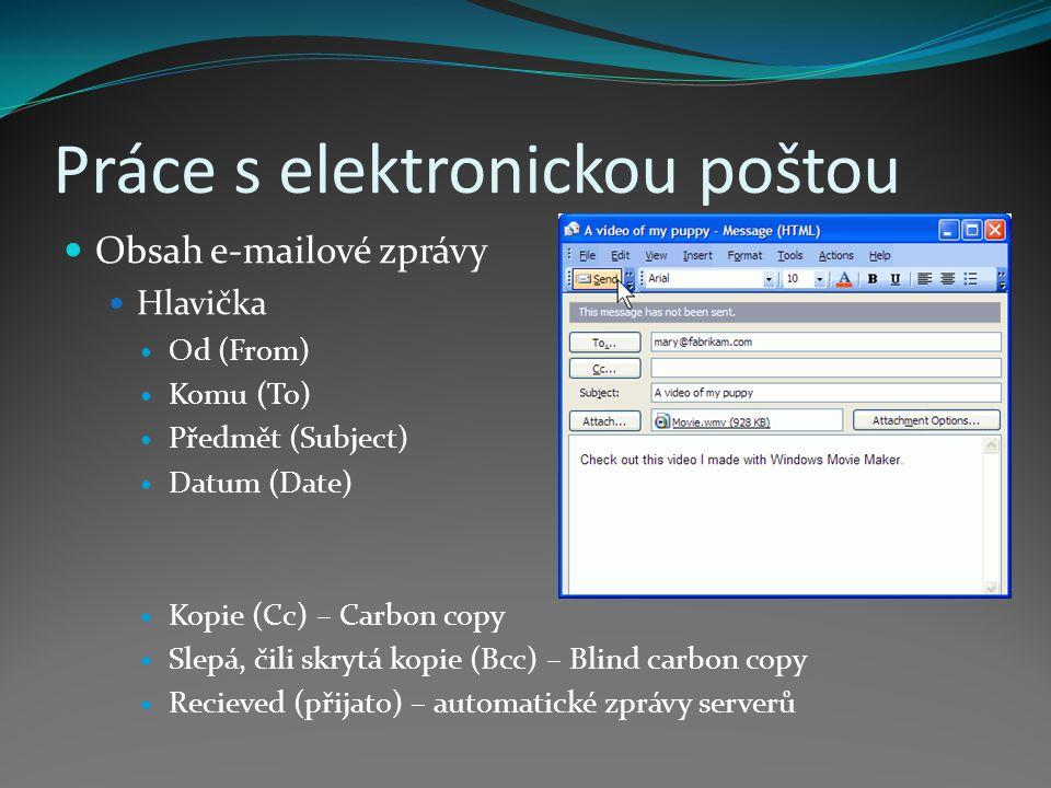 Práce s elektronickou poštou Obsah e-mailové zprávy Hlavička Od (From) Komu (To) Předmět (Subject) Datum (Date) Kopie (Cc) – Carbon copy Slepá, čili skrytá kopie (Bcc) – Blind carbon copy Recieved (přijato) – automatické zprávy serverů
