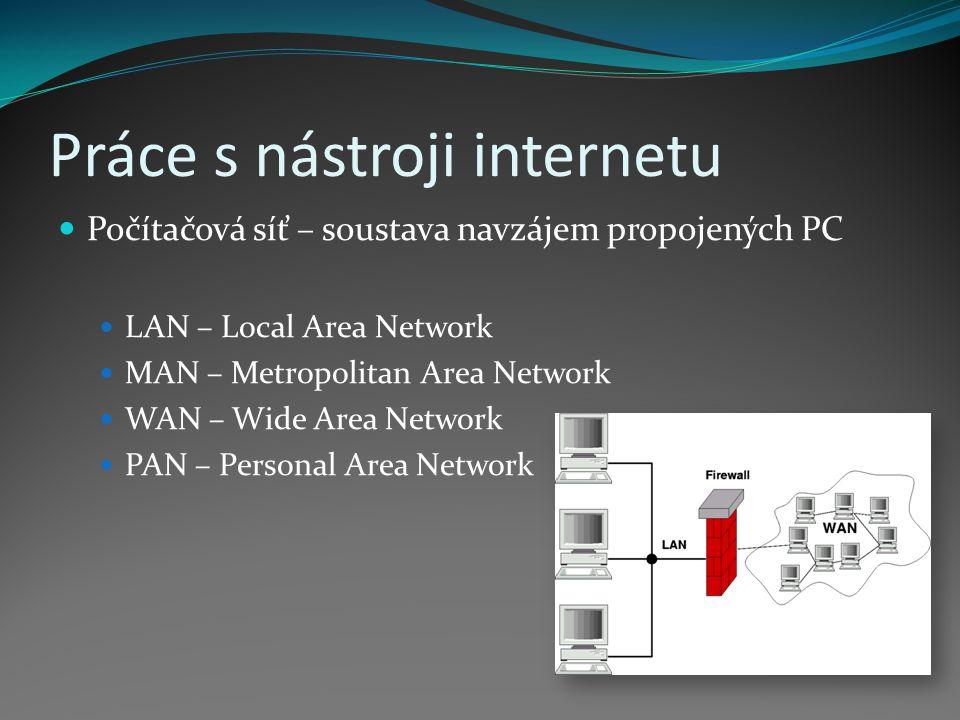 Práce s nástroji internetu Počítačová síť – soustava navzájem propojených PC LAN – Local Area Network MAN – Metropolitan Area Network WAN – Wide Area Network PAN – Personal Area Network