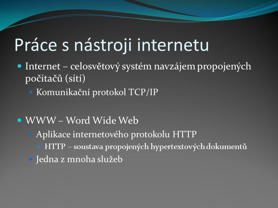 """Práce s nástroji internetu Historie internetu 1962 – výzkumný projekt ARPA 1973 – idea vedoucí k TCP/IP 1984 – vyvinut DNS (Domain Name System) 1987 – vzniká pojem """"internet 1989 – Tim Berners-Lee – návrh WWW 1990 – Tim Berners-Lee – koncept hypertextu 1991 – nasazení WWW v laboratořích CERN 1993 – Marc Andreessen – první prohlížeč WWW – Mosaic 1994 – komercionalizace internetu 2000 – 250 milionů uživatelů 2006 – více než miliarda uživatelů"""