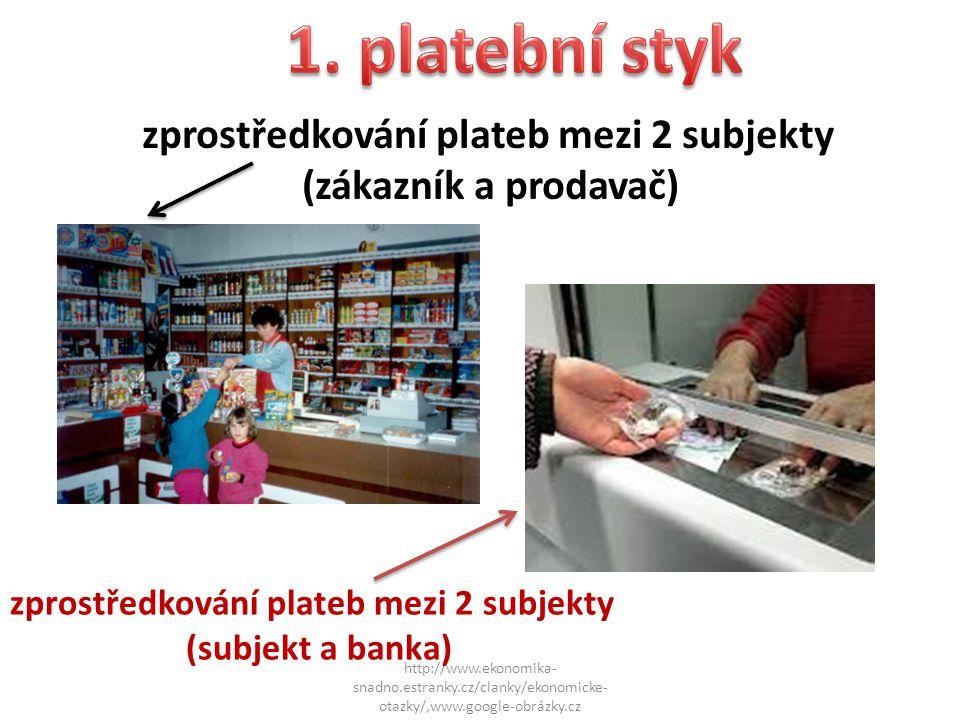 1)bezhotovostní styk = forma placení, při niž nefungují hotové reálné peníze, placení se uskutečňuje pouze písemným převodem z účtu na účet http://www.ekonomika- snadno.estranky.cz/clanky/ekonomicke- otazky/,www.google-obrázky.cz 2)hotovostní styk = jistota zaplacení, peníze mám stále k dispozici - výhody (bezpečnost, méně pracný, rychlejší při převodech na větší vzdálenosti, přesný)