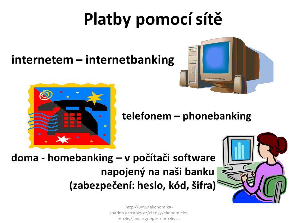 Platby pomocí sítě internetem – internetbanking telefonem – phonebanking doma - homebanking – v počítači software napojený na naši banku (zabezpečení: