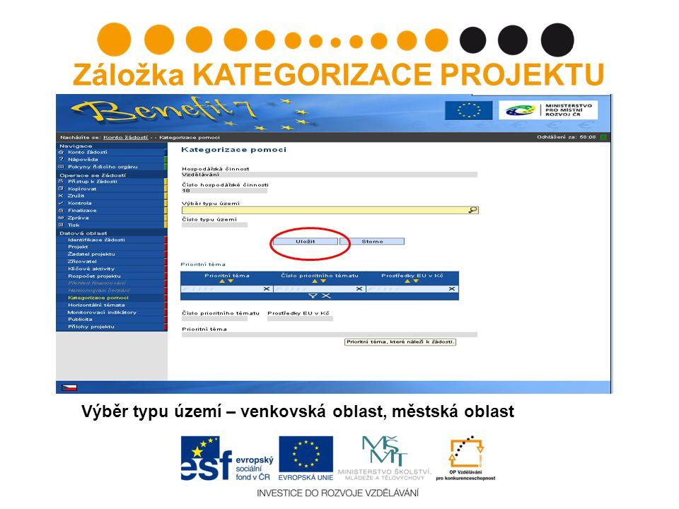 Záložka KATEGORIZACE PROJEKTU Výběr typu území – venkovská oblast, městská oblast