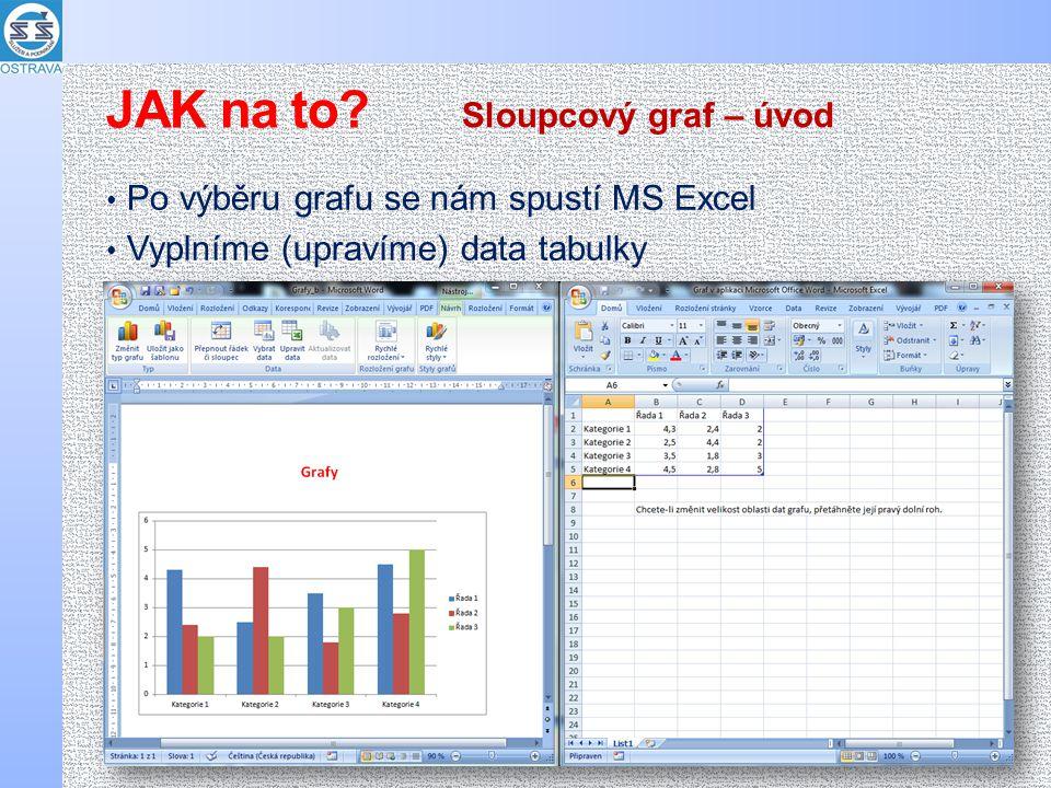 Po výběru grafu se nám spustí MS Excel Vyplníme (upravíme) data tabulky Sloupcový graf – úvod JAK na to
