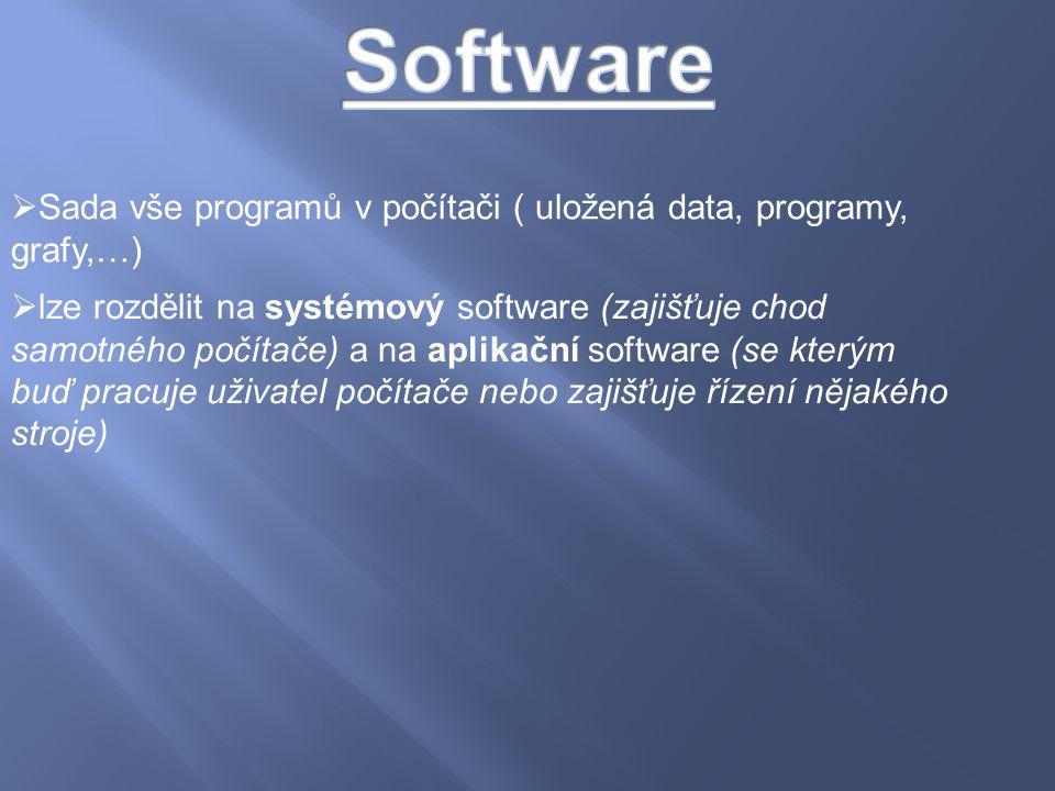  Sada vše programů v počítači ( uložená data, programy, grafy,…)  lze rozdělit na systémový software (zajišťuje chod samotného počítače) a na aplika
