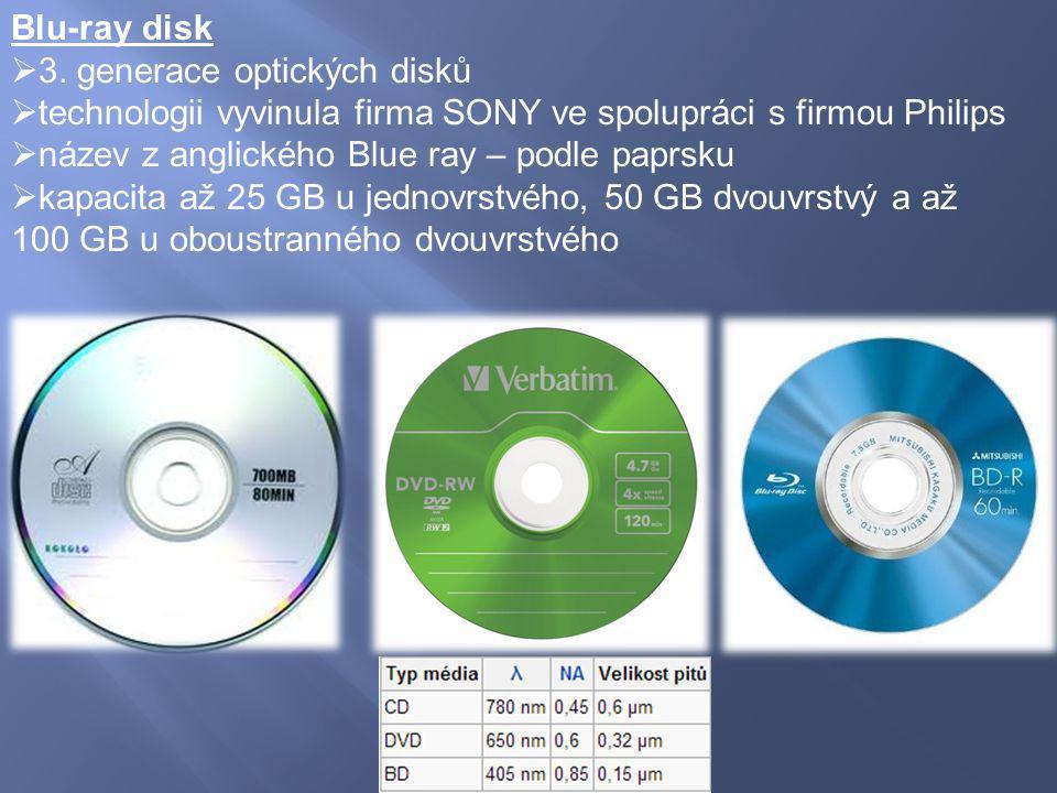 Blu-ray disk  3. generace optických disků  technologii vyvinula firma SONY ve spolupráci s firmou Philips  název z anglického Blue ray – podle papr