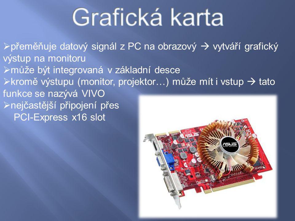  přeměňuje datový signál z PC na obrazový  vytváří grafický výstup na monitoru  může být integrovaná v základní desce  kromě výstupu (monitor, pro