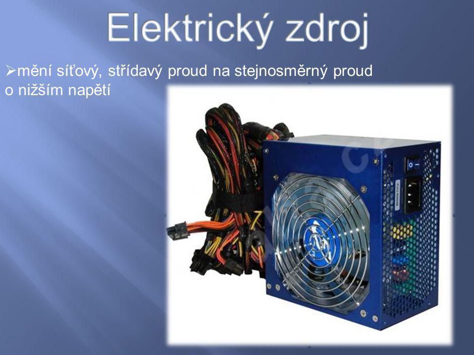  mění síťový, střídavý proud na stejnosměrný proud o nižším napětí