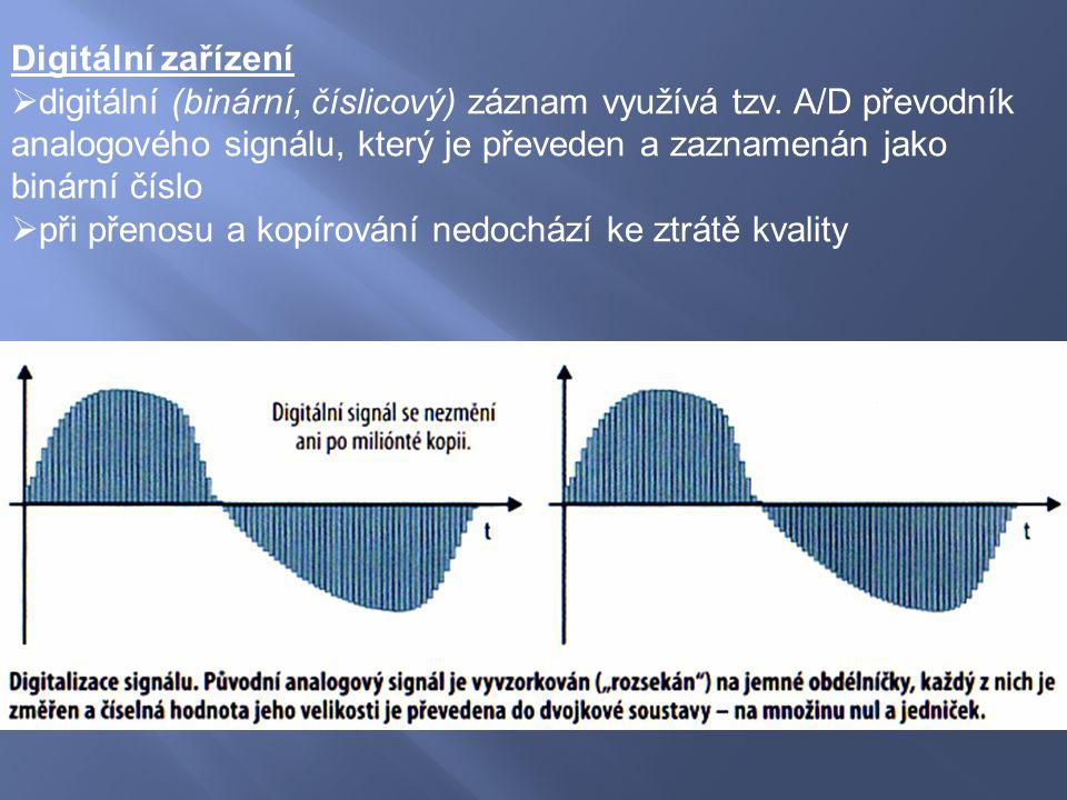 Digitální zařízení  digitální (binární, číslicový) záznam využívá tzv. A/D převodník analogového signálu, který je převeden a zaznamenán jako binární
