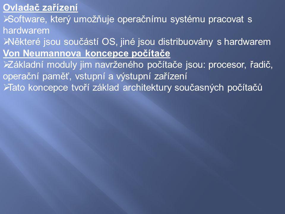 Ovladač zařízení  Software, který umožňuje operačnímu systému pracovat s hardwarem  Některé jsou součástí OS, jiné jsou distribuovány s hardwarem Vo