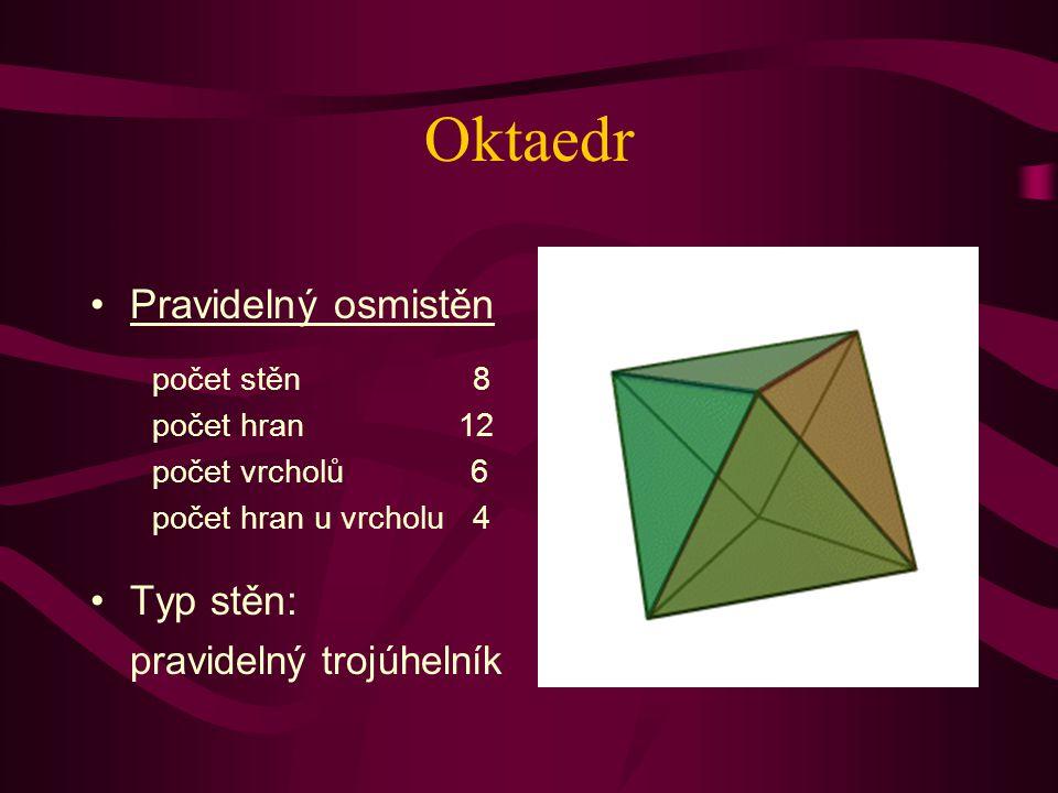 Hexaedr = krychle Pravidelný šestistěn Typ stěn: čtverec počet stěn 6 počet hran 12 počet vrcholů 8 počet hran u vrcholu 3