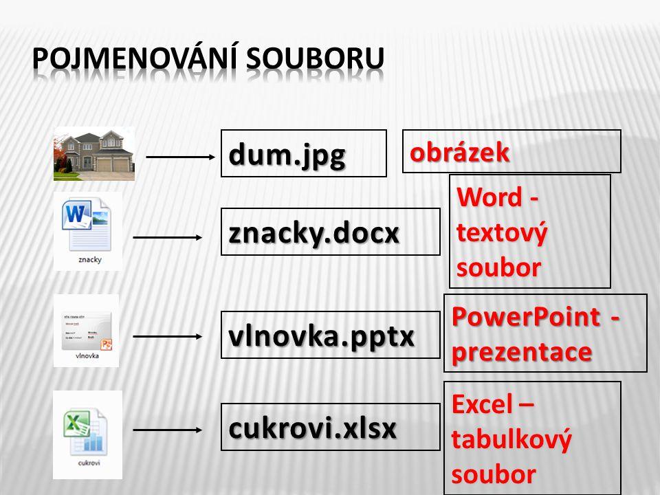 Pomocí přípony souboru zjisti, o jaký typ souboru se jedná: 1.pes.jpg 2.matematika.docx 3.vysledne_znamky.xlsx 4.karvina.pptx obrázek Word – textový soubor Excel – tabulkový soubor PowerPoint - prezentace