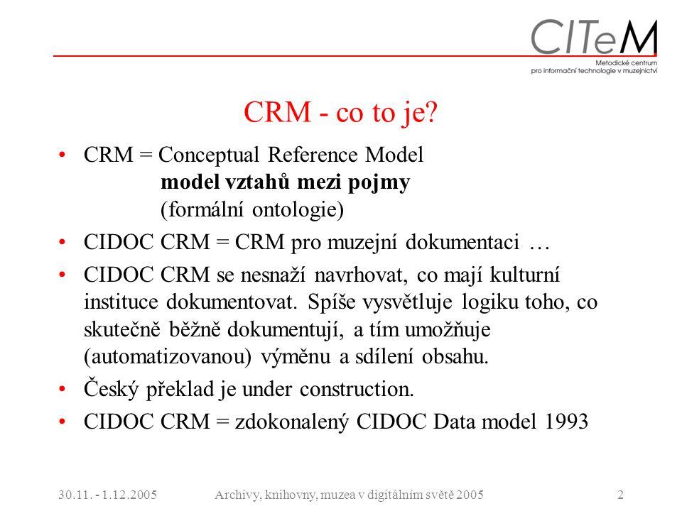 30.11. - 1.12.2005Archivy, knihovny, muzea v digitálním světě 20052 CRM - co to je? CRM = Conceptual Reference Model model vztahů mezi pojmy (formální