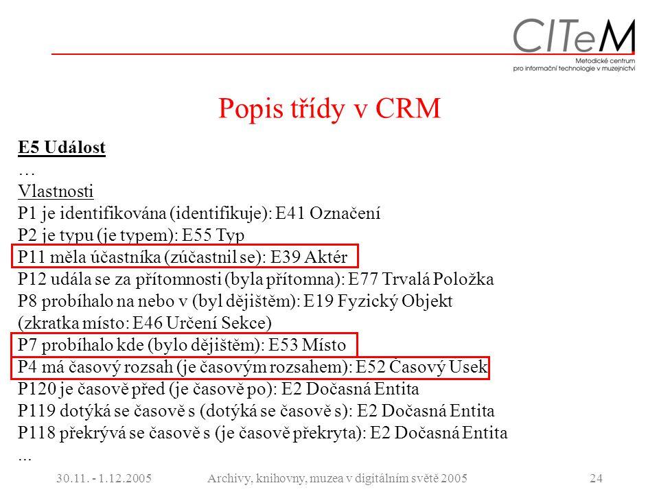 30.11. - 1.12.2005Archivy, knihovny, muzea v digitálním světě 200524 Popis třídy v CRM E5 Událost … Vlastnosti P1 je identifikována (identifikuje): E4
