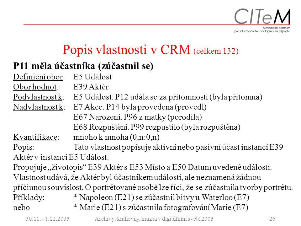 30.11. - 1.12.2005Archivy, knihovny, muzea v digitálním světě 200526 Popis vlastnosti v CRM (celkem 132) P11 měla účastníka (zúčastnil se) Definiční o