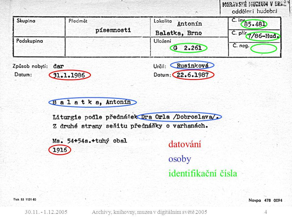 30.11. - 1.12.2005Archivy, knihovny, muzea v digitálním světě 20054 Dokumentace sbírek datování osoby identifikační čísla